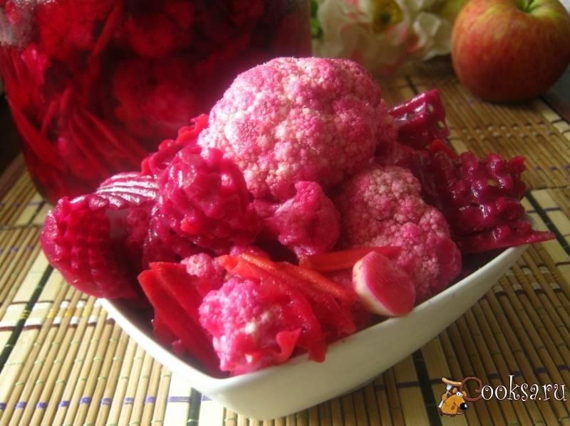 Рецепты приготовления маринованной цветной капусты со свеклой