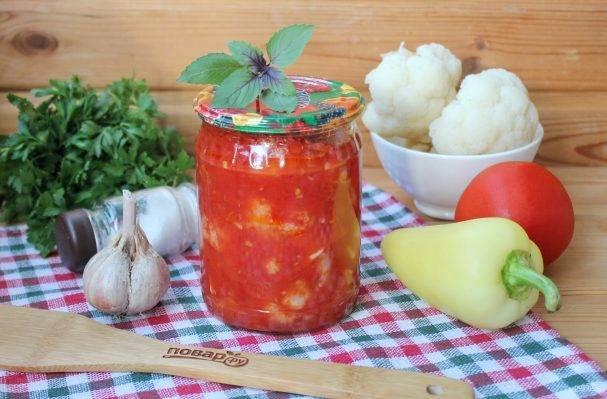 Простые рецепты консервирования цветной капусты в томате на зиму. капуста в томатной заливке на зиму