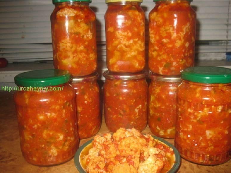 Простые рецепты консервирования цветной капусты в томате на зиму
