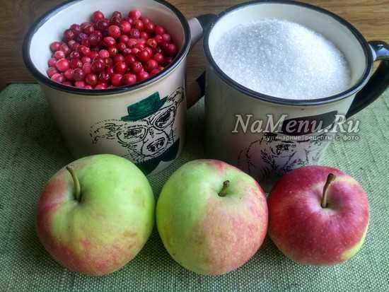 Брусника с яблоками в собственном соку