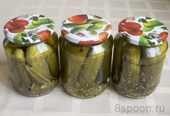Маринованные огурцы с лимонной кислотой в литровых банках
