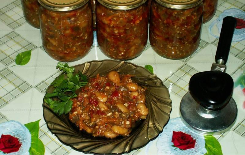 Лучшие рецепты приготовления баклажанов с фасолью на зиму