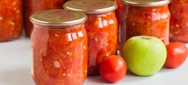 Простые рецепты приготовления аджики с яблоками и помидорами на зиму