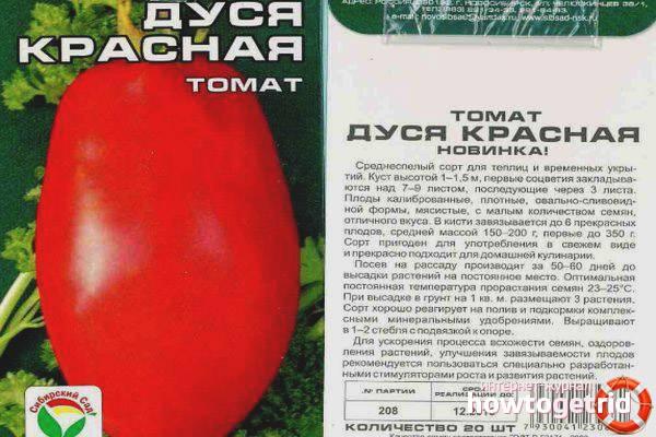 Кисло-сладки вкус помидор сорта, с романтичным названием «дуся красная»
