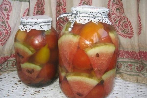 6 лучших рецептов приготовления помидоров с арбузом на зиму без стерилизации
