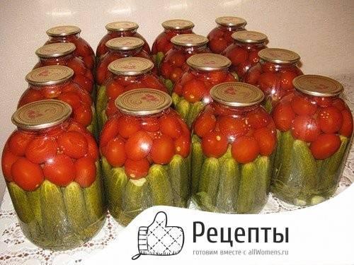 Пошаговый рецепт приготовления ассорти из помидоров, огурцов и перца на зиму