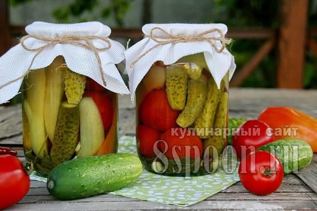 Ассорти помидоры и огурцы на зиму 1 литровую банку - 5 рецептов с фото пошагово