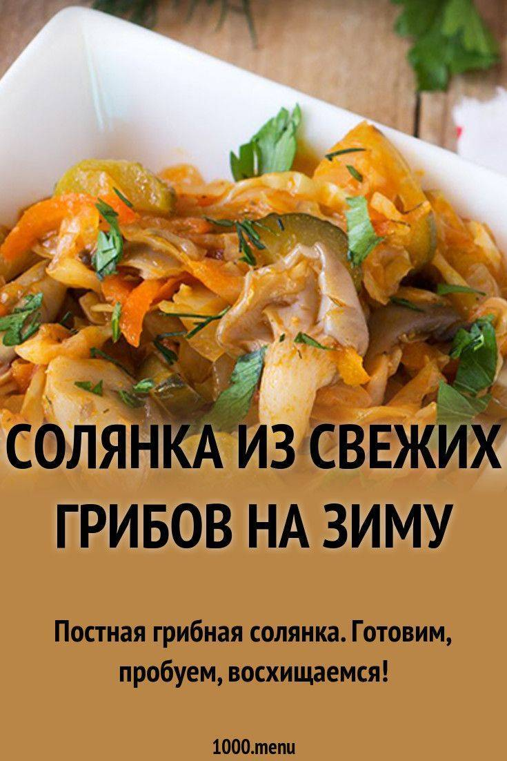 Грибная солянка на зиму: два вкусных и проверенных рецепта