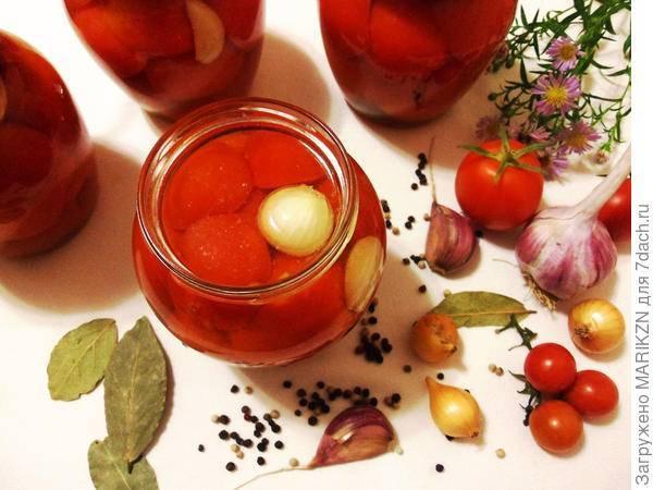 Сладкие помидоры с луком без стерилизации - 5 рецептов с фото пошагово