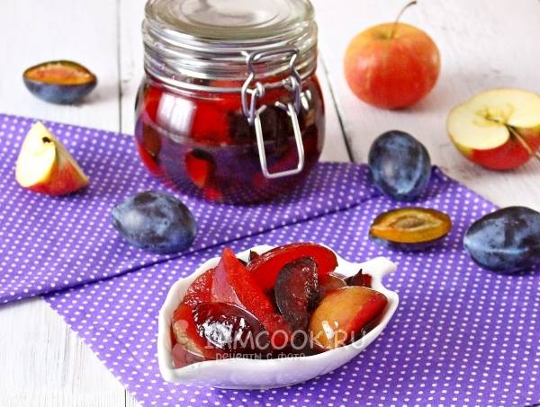 Варенье-пятиминутка из яблок и слив