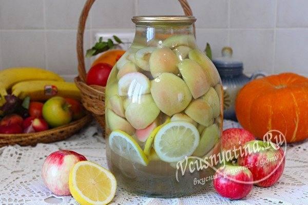 Компот из яблок на зиму — рецепты на 3 литровую банку