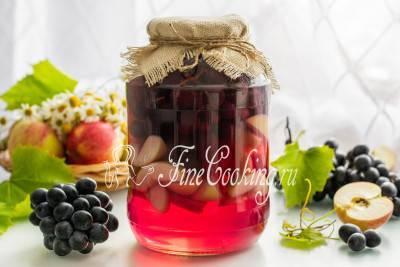 Компот из винограда и яблок на зиму без стерилизации