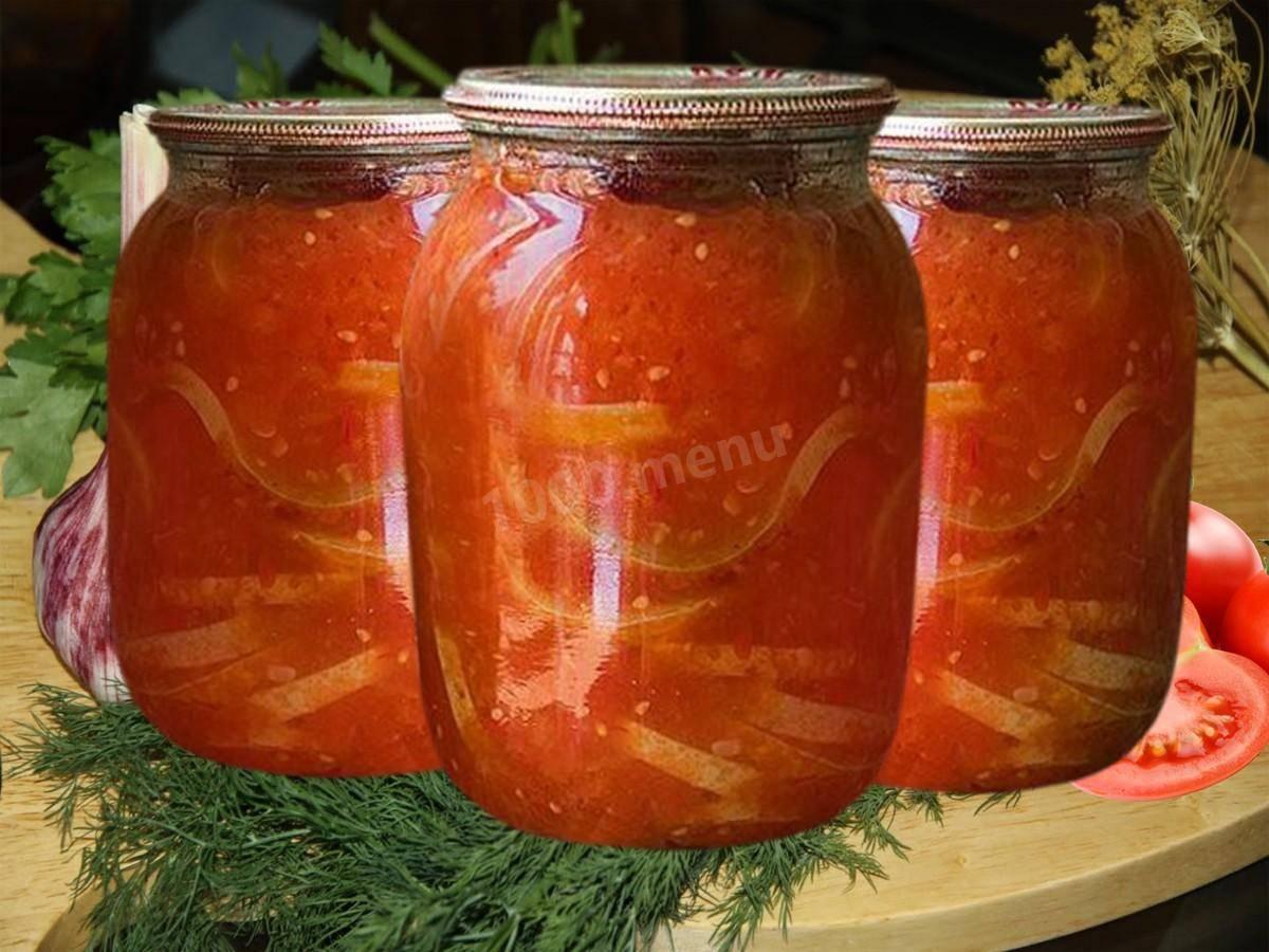 Салат из кабачков на зиму с томатной пастой и чесноком