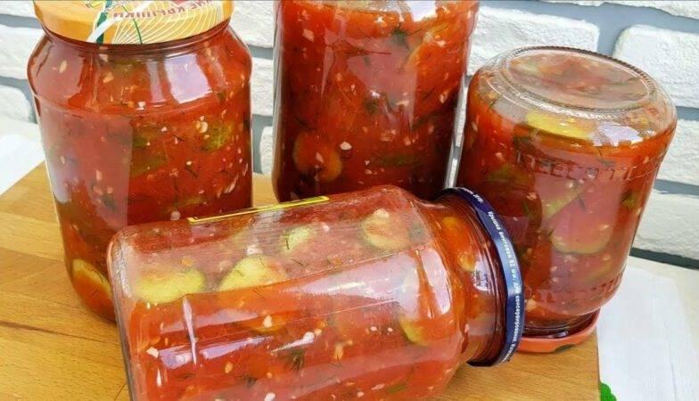 7 рецептов пикантных хрустящих огурцов в томатной заливке на зиму