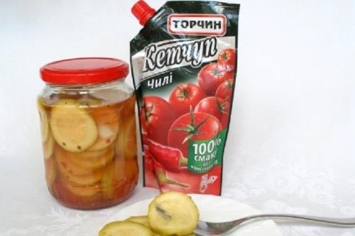 Кабачки с кетчупом чили на зиму в литровых банках