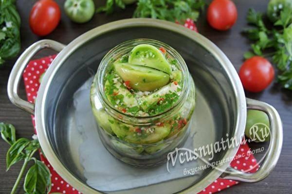 Солёные зелёные помидоры по-грузински